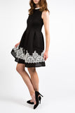 Black Skyline Lace Trim Dress