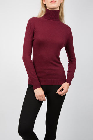 TARLEE Lily & Carter burgundy polo neck jumper