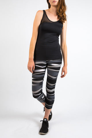 Black Graphic Fitness Capri