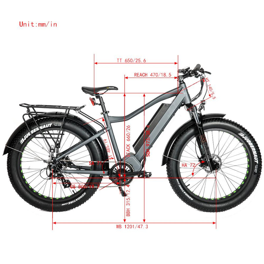 Measurements 1000W Mid Drive Grey Bolton Ebikes