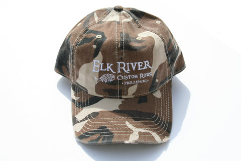 Elk River Custom Rods Distressed Brown Camo Hat