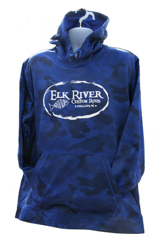 Elk River Custom Rods CamoHex Fleece Hooded Pullover True Royal
