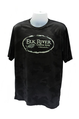 Elk River Custom Rods Camohex Short Sleeve T-Shirt Iron Grey