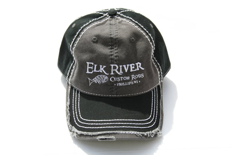 Elk River Custom Rods Distressed Black & Charcoal Grey Hat