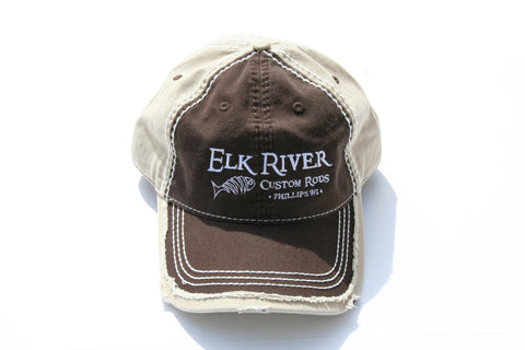Elk River Custom Rods Distressed Dark Brown & Tan Hat