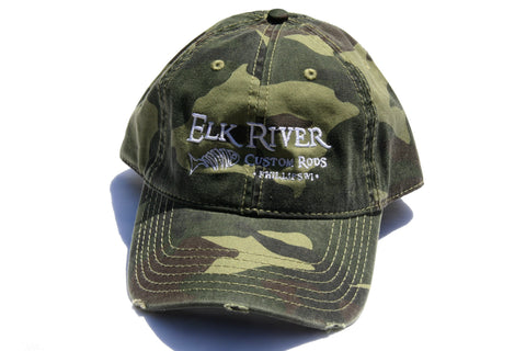 Elk River Custom Rods Distressed Green Camo Hat