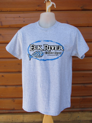 Elk River Custom Rods Short Sleeve T-Shirt Sport Grey