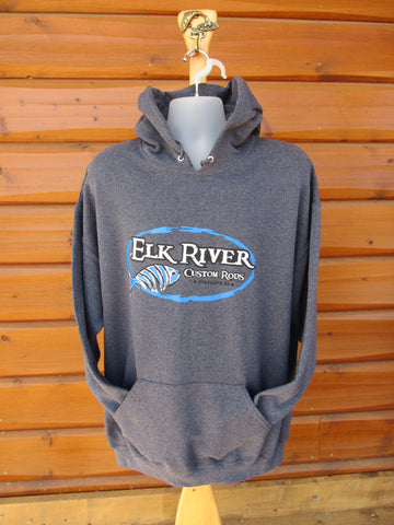 Elk River Custom Rods Unisex Pullover Hooded Sweatshirt Black Heather