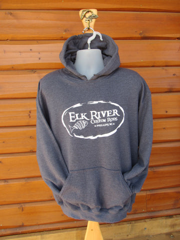 Elk River Custom Rods Unisex Pullover Hooded Sweatshirt Dark Heather