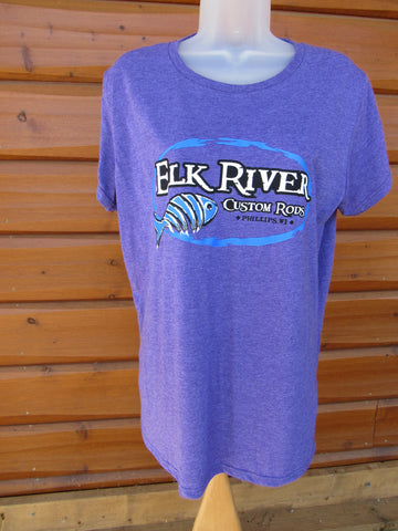 Elk River Custom Rods Short Sleeve Ladies Lightweight T-Shirt Heather Purple