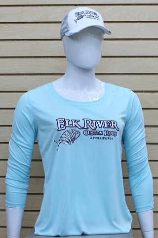 Ladies Long Sleeve Lightweight Performance Shirt Aqua Blue