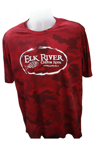 Elk River Custom Rods Camohex Short Sleeve T-Shirt Deep Red
