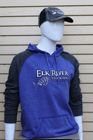 Lightweight Fleece Raglan Hoodie Heathered Deep Royal/ Heathered Charcoal