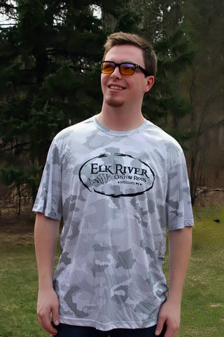 Elk River Custom Rods Camohex Short Sleeve T-Shirt White