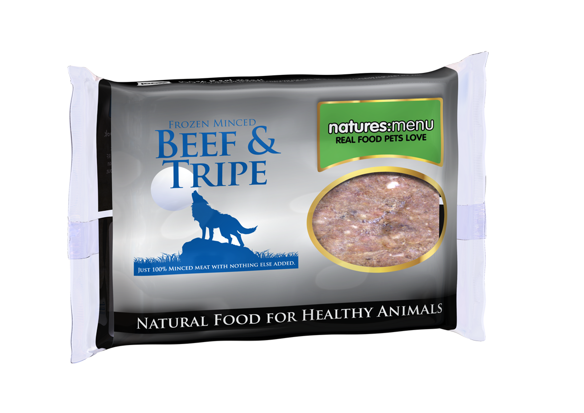 Natures Menu Frozen Mince Beef & Tripe Raw Food Block