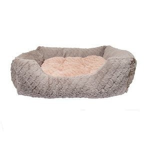 Grey & Pink Square Cat Bed