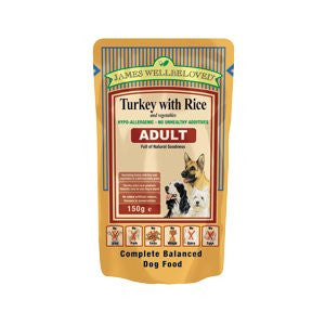 James Wellbeloved Adult Turkey with Rice & Vegetables Wet Dog Food Pouches