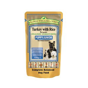 James Wellbeloved Puppy/Junior Turkey with Rice & Vegetables Dog Pouches,Wet Dog Food,James Wellbeloved,Animal World UK - Animal World UK