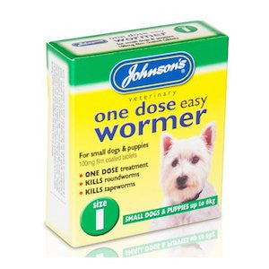 Johnsons One Dose Easy Worming Tablets Size 1 - Small Dogs & Puppies,Dog Healthcare,Johnsons,Animal World UK - Animal World UK
