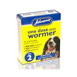 Johnsons One Dose Easy Worming Tablets Size 2 - Medium Dogs & Puppies,Dog Healthcare,Johnsons,Animal World UK - Animal World UK