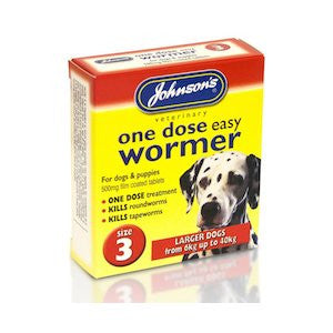 Johnsons One Dose Easy Worming Tablets Size 3 - Large Dogs & Puppies,Dog Healthcare,Johnsons,Animal World UK - Animal World UK