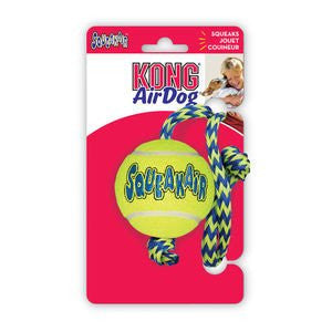 Kong Air Squeaker Tennis Ball With Rope Medium Dog Toy