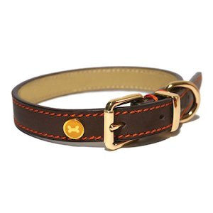 Luxury Leather Brown Dog Collar,Dog Collars,Rosewood,Animal World UK - Animal World UK