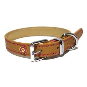 Luxury Leather Tan Dog Collar,Dog Collars,Rosewood,Animal World UK - Animal World UK