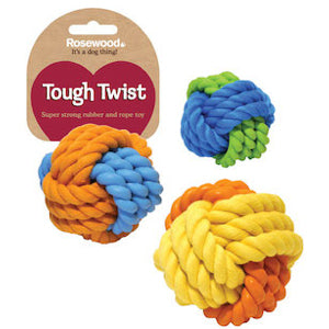 Rubber & Rope Ball Dog Toy