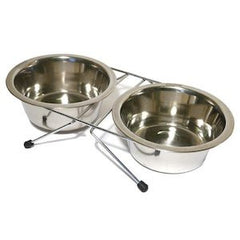 Stainless Steel Twin Cat Bowls,Cat Bowls,Rosewood,Animal World UK - Animal World UK