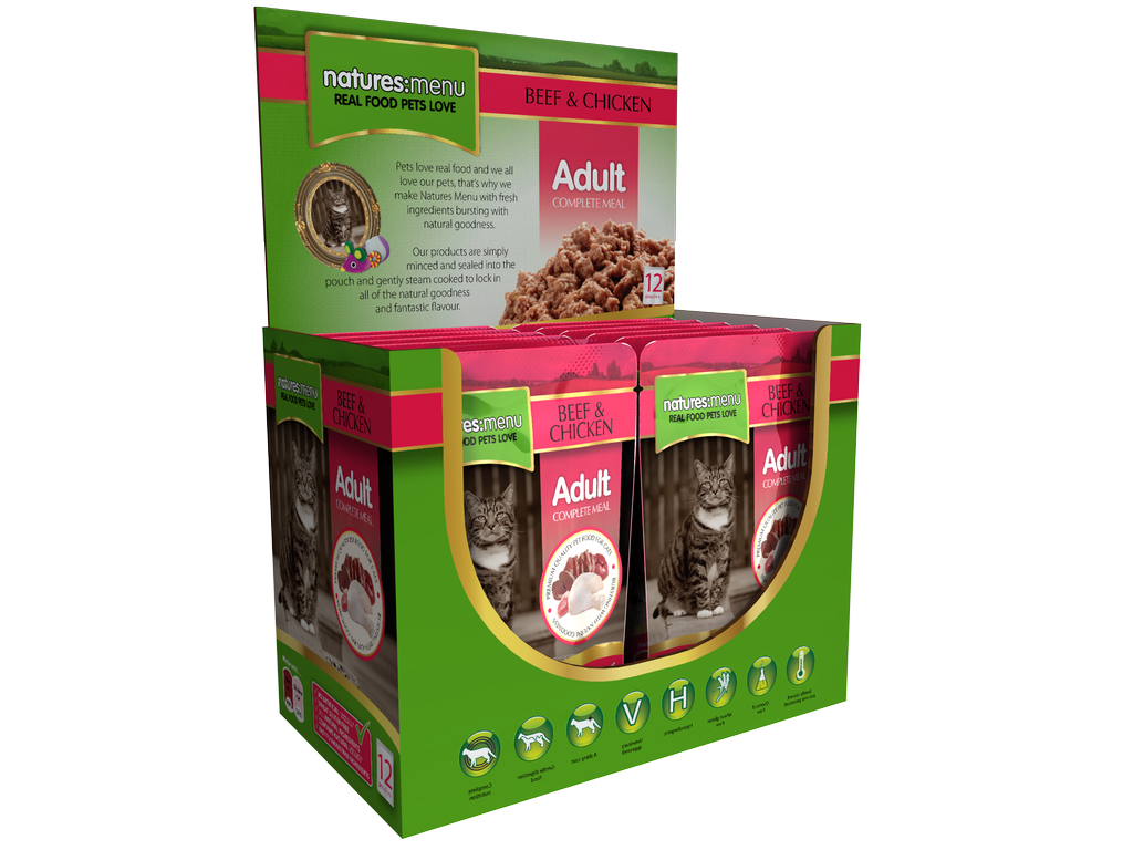 Natures Menu Beef & Chicken Wet Cat Food Pouches
