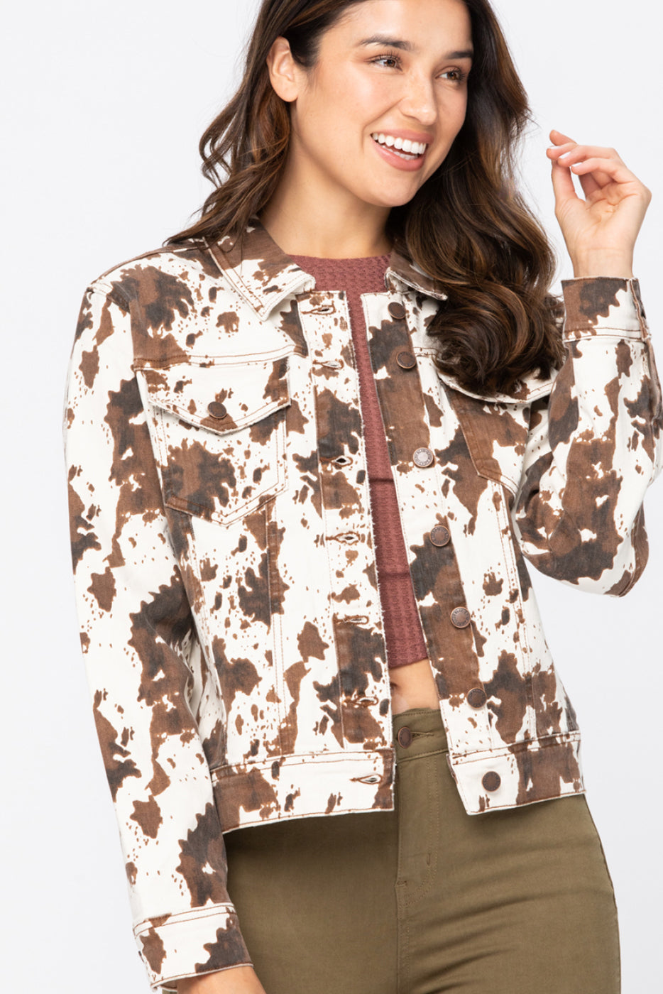 Cow Print Jacket - PLUS
