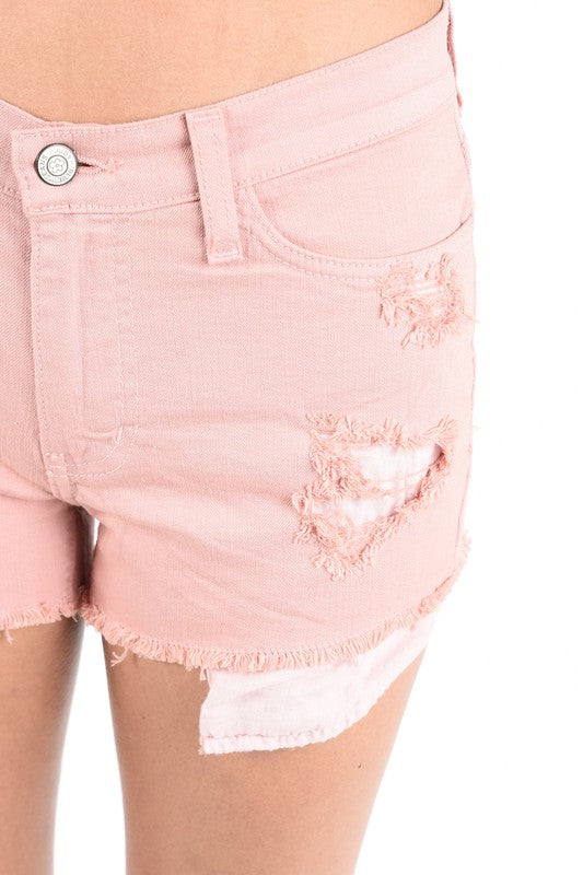 Maddie Destroyed Shorts in Blush
