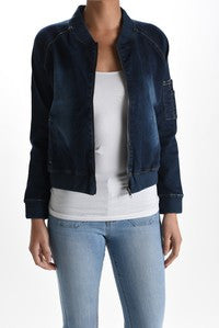 Betty Bomber Jacket in Indigo - PLUS