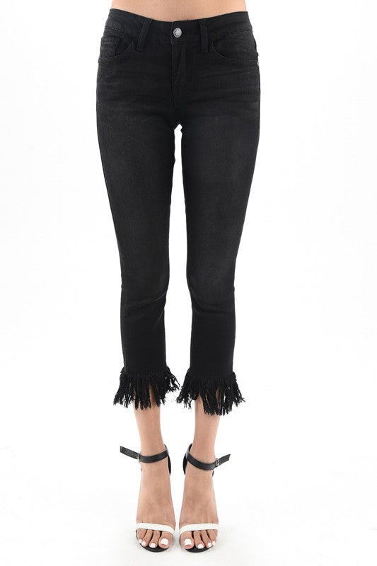 Kelly Fringe Crop in Black