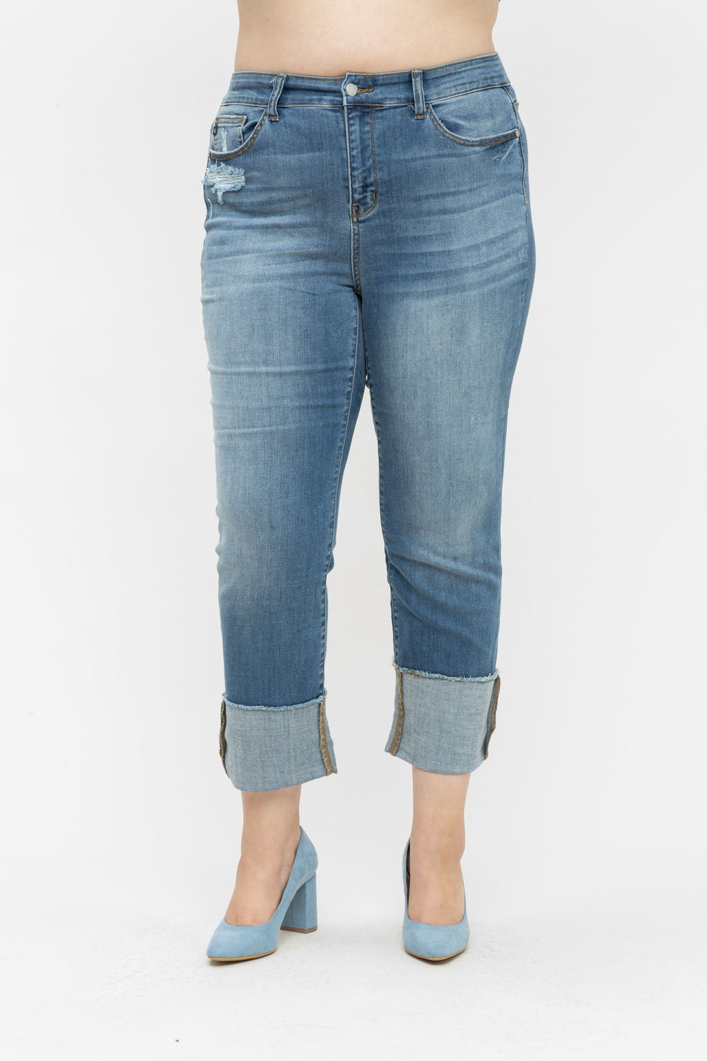 Amy Straight Cuffed Denim - PLUS