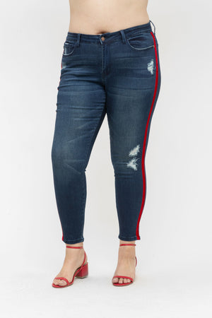 Kayla Red Velvet Tape Skinny - PLUS