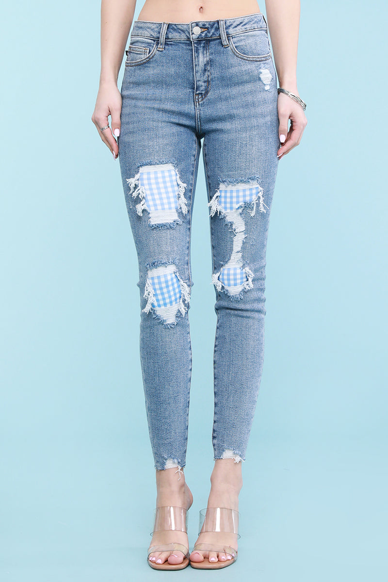 Gingham Patch Skinny Jeans