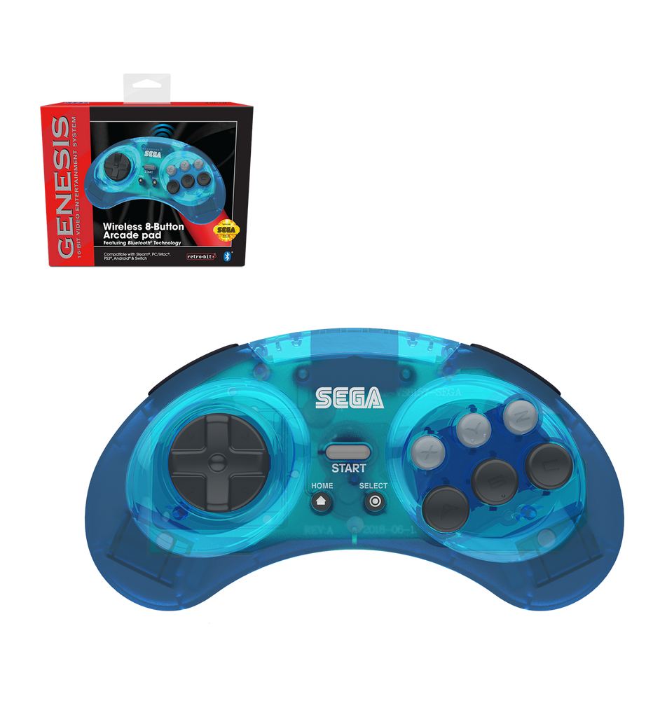 Official SEGA Genesis Bluetooth Controller (Clear Blue)