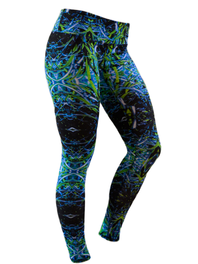 Women's Printed Hybrid Tight: Cool Grass