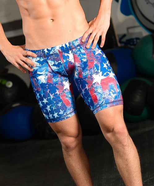 "Men's 9"" Printed Hybrid Short: American Patriot"