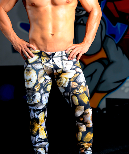 Men's Printed Hybrid Tight: Rock Solid