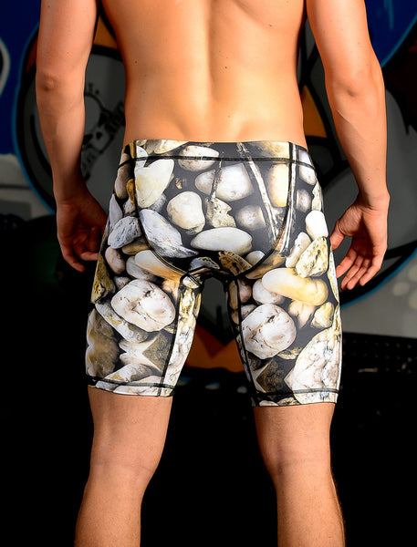 "Men's 9"" Printed Hybrid Short: Rock Solid"