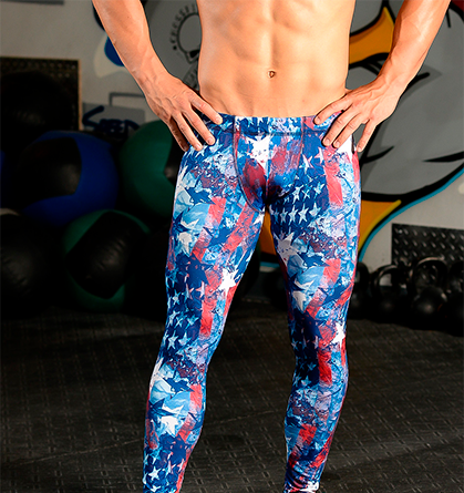 Men's Printed Hybrid Tight: American Patriot