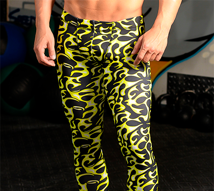 Men's Printed Hybrid Tight: Fired Up