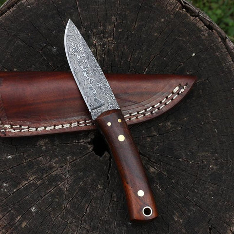 Small Handmade Damascus Steel Fixed Blade Hunting Knife with Rosewood by Jackson Blades