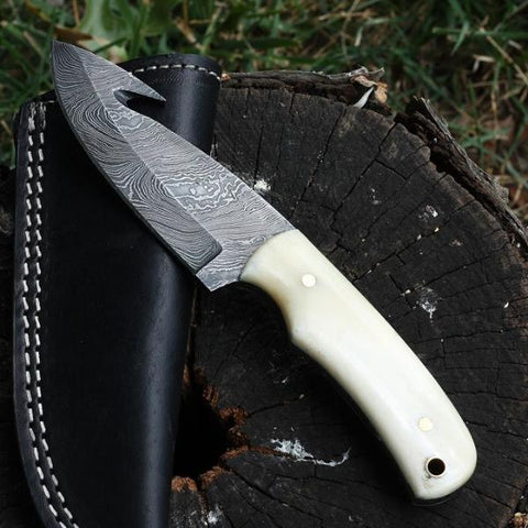 AUGUSTA Handmade Gut Hook Skinner (with Genuine Leather Sheath)