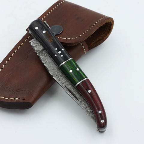 AVERY Handmade Damascus steel folding knife with a colored olive wood handle
