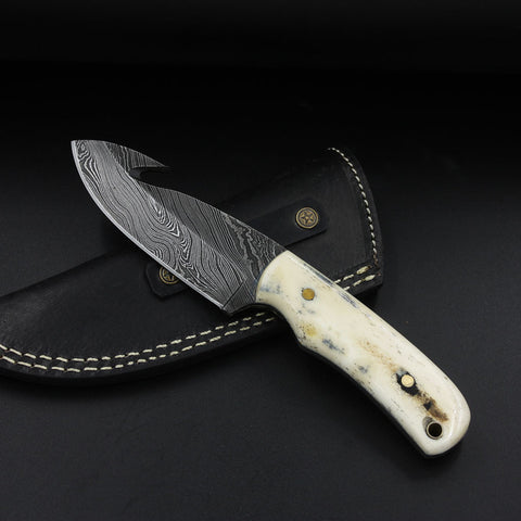 AUGUSTA Handmade Damascus Gut Hook Skinner (with Genuine Leather Sheath)