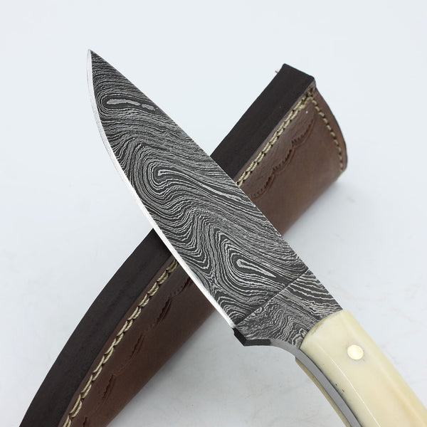 BARBARA Handmade Damascus Steel fixed blade knife with camel bone handle